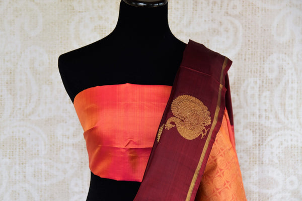 Buy maroon Kanchipuram silk saree with peacock zari buta online in USA. Explore from a range of exclusive Indian sarees at Pure Elegance clothing online store..-blouse pallu