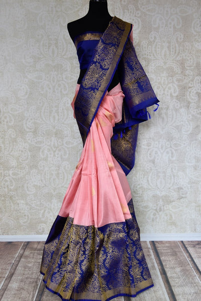 Buy pink Kanjeevaram silk saree with blue zari border online in USA. Choose from a range of exquisite silk sarees at Pure Elegance Indian clothing store in USA. -full view