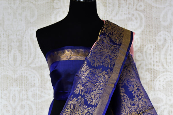 Buy pink Kanjeevaram silk saree with blue zari border online in USA. Choose from a range of exquisite silk sarees at Pure Elegance Indian clothing store in USA. -blouse pallu