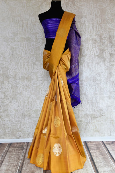 Buy yellow Kanchipuram silk saree with zari buta online in USA. Explore from a range of exclusive Indian silk sarees at Pure Elegance clothing online store for women.-full view