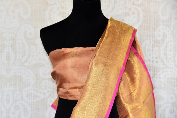 Buy golden beige Kanjivaram silk sari with zari border online in USA. Choose from a range of exquisite wedding sarees at Pure Elegance Indian clothing store in USA. -blouse pallu