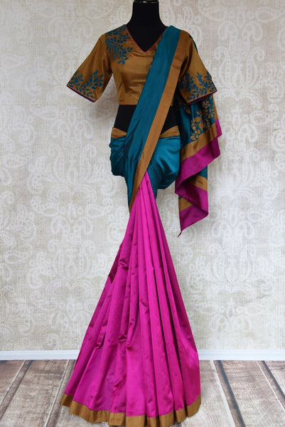 Shop magenta and green striped applique silk saree with blouse online in USA. Explore from a range of exclusive Indian silk sarees at Pure Elegance online store...-full view