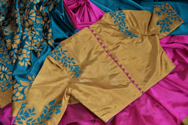 Shop magenta and green striped applique silk saree with blouse online in USA. Explore from a range of exclusive Indian silk sarees at Pure Elegance online store...-details