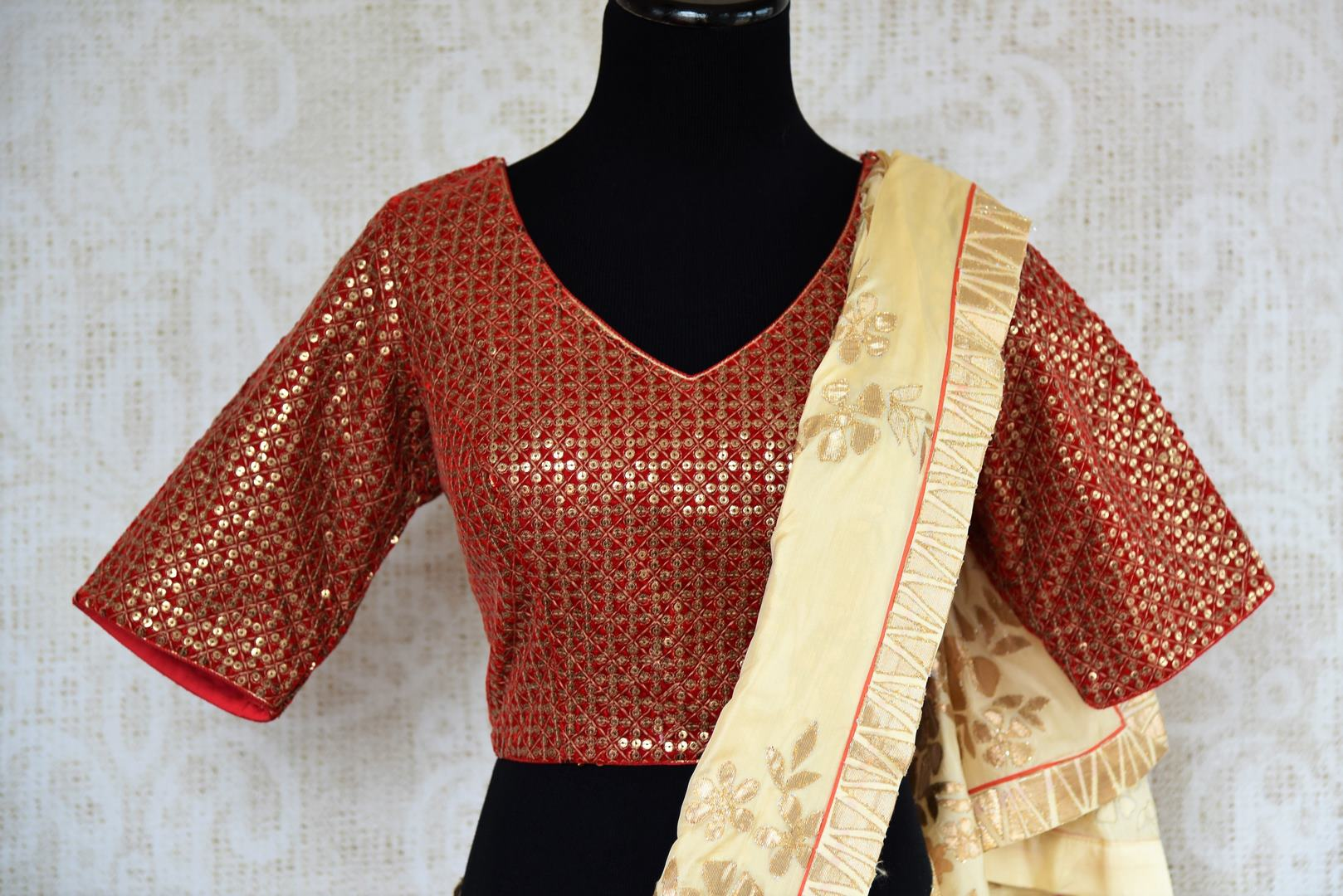 Buy online off white applique silk saree with red embroidered blouse