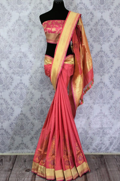 Buy beautiful pink Banarasi silk saree with buta online in USA. Pure Elegance Indian clothing store brings an exclusive range of Banarasi silk sarees for women in USA.-full view