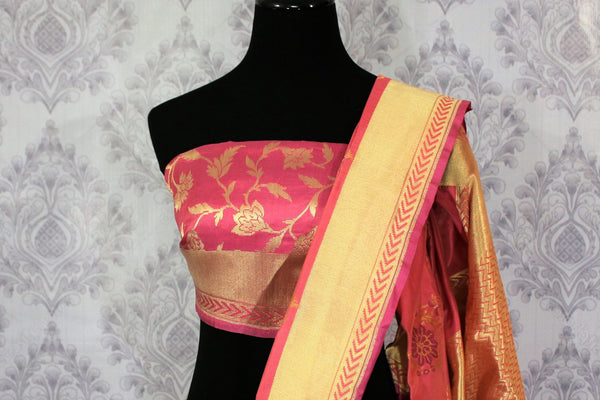 Buy beautiful pink Banarasi silk saree with buta online in USA. Pure Elegance Indian clothing store brings an exclusive range of Banarasi silk sarees for women in USA.-blouse pallu