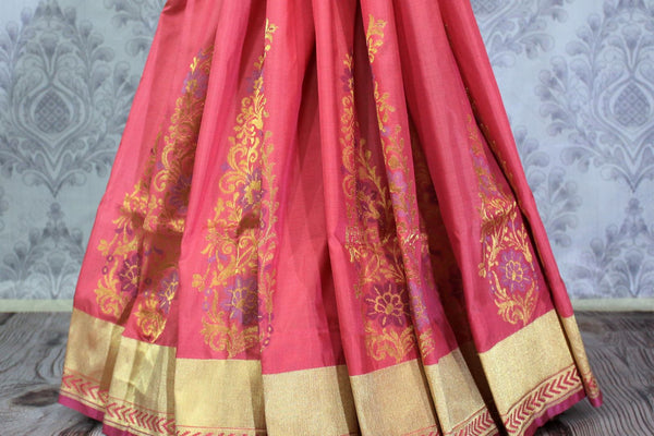 Buy beautiful pink Banarasi silk saree with buta online in USA. Pure Elegance Indian clothing store brings an exclusive range of Banarasi silk sarees for women in USA.-pleats