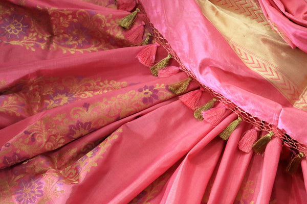 Buy beautiful pink Banarasi silk saree with buta online in USA. Pure Elegance Indian clothing store brings an exclusive range of Banarasi silk sarees for women in USA.-details
