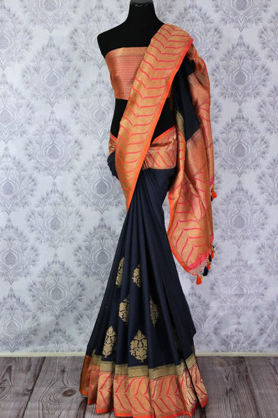 Buy navy blue linen Banarasi saree online in USA. Pure Elegance Indian clothing store brings an exclusive range of Indian Banarasi sarees for women in USA.-full view