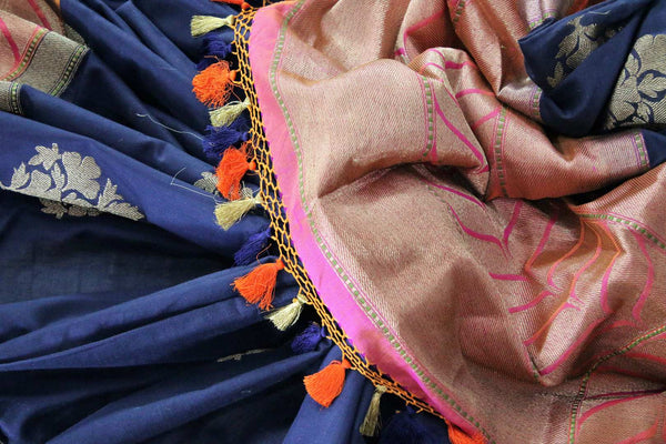 Buy navy blue linen Banarasi saree online in USA. Pure Elegance Indian clothing store brings an exclusive range of Indian Banarasi sarees for women in USA.-details