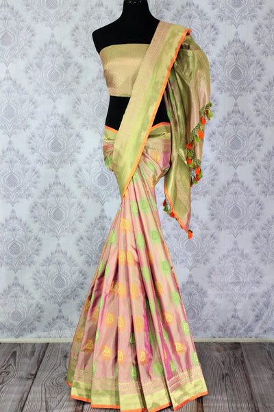 Buy golden pink Banarasi silk saree with buta online in USA. Exclusive collection of Indian designer saris at Pure Elegance Indian clothing store for women. Shop now.-full view