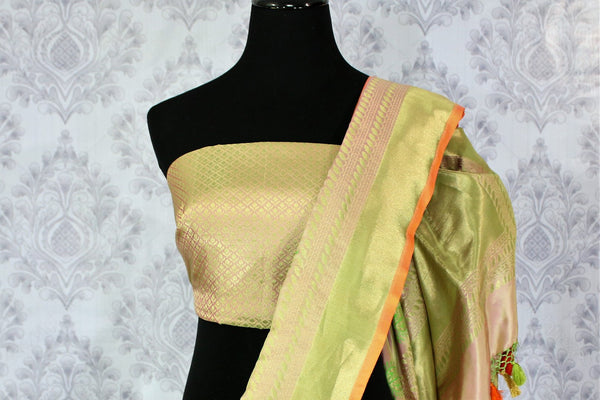 Buy golden pink Banarasi silk saree with buta online in USA. Exclusive collection of Indian designer saris at Pure Elegance Indian clothing store for women. Shop now.-blouse pallu