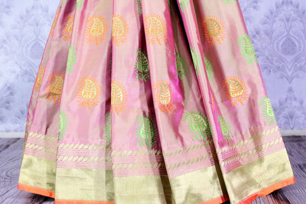 Buy golden pink Banarasi silk saree with buta online in USA. Exclusive collection of Indian designer saris at Pure Elegance Indian clothing store for women. Shop now.-pleats