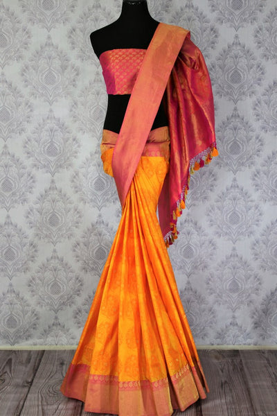 Buy ethnic yellow Benarasi silk saree online in USA. Exclusive collection of Indian designer saris at Pure Elegance Indian clothing store for women in USA. Shop now.-full view