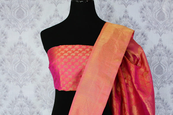 Buy ethnic yellow Benarasi silk saree online in USA. Exclusive collection of Indian designer saris at Pure Elegance Indian clothing store for women in USA. Shop now.-blouse pallu
