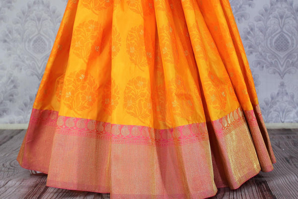 Buy ethnic yellow Benarasi silk saree online in USA. Exclusive collection of Indian designer saris at Pure Elegance Indian clothing store for women in USA. Shop now.-pleats