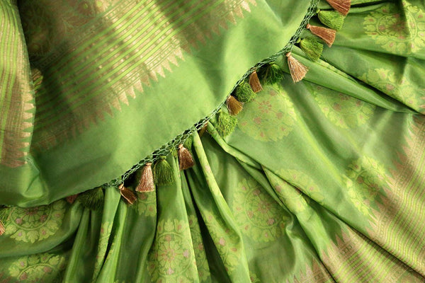 Buy beautiful green Banarasi silk saree online in USA. Exclusive collection of traditional Indian sarees at Pure Elegance Indian clothing store for women in USA. -details