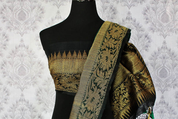 Buy ethnic bottle green Banarasi tussar saree online in USA. Exclusive collection of traditional Indian  sarees at Pure Elegance Indian clothing store for women in USA. -blouse pallu