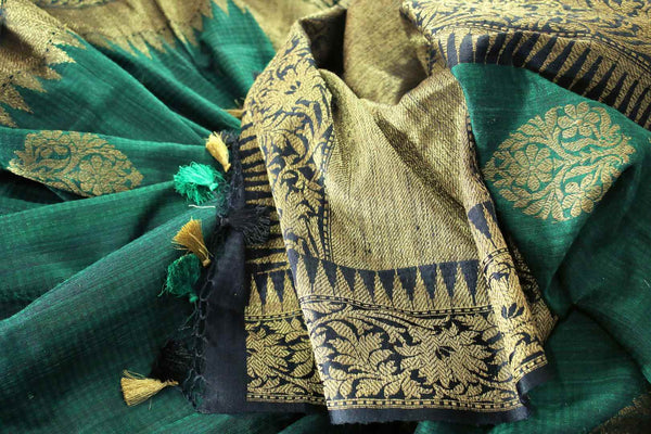Buy ethnic bottle green Banarasi tussar saree online in USA. Exclusive collection of traditional Indian  sarees at Pure Elegance Indian clothing store for women in USA. -details