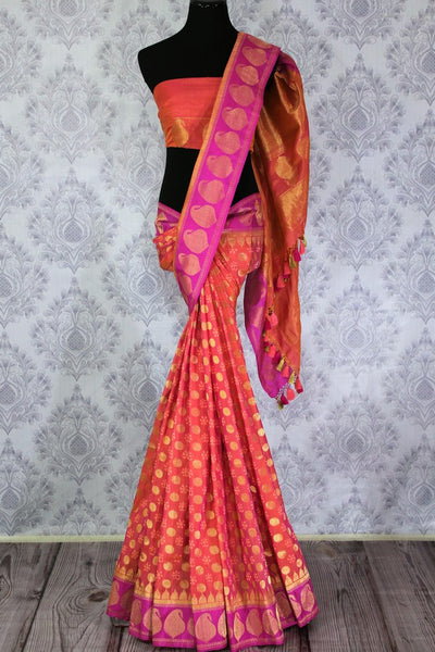 Buy pink Banarasi silk saree online in USA with golden buta. Exquisite collection of traditional Indian Banarasi sarees at Pure Elegance clothing store for women in USA. -full view