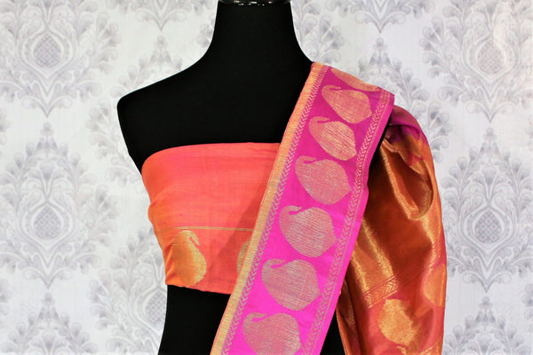 Buy pink Banarasi silk saree online in USA with golden buta. Exquisite collection of traditional Indian Banarasi sarees at Pure Elegance clothing store for women in USA. -blouse pallu