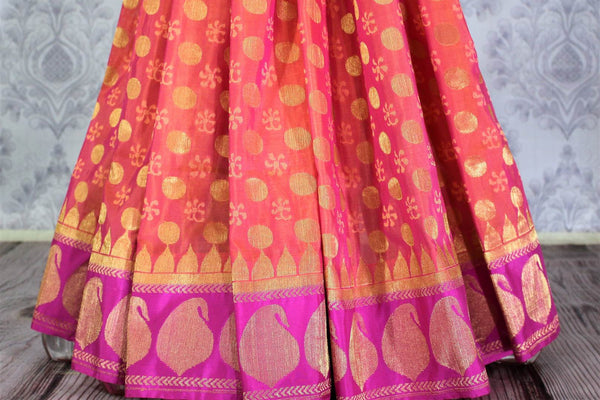 Buy pink Banarasi silk saree online in USA with golden buta. Exquisite collection of traditional Indian Banarasi sarees at Pure Elegance clothing store for women in USA. -pleats