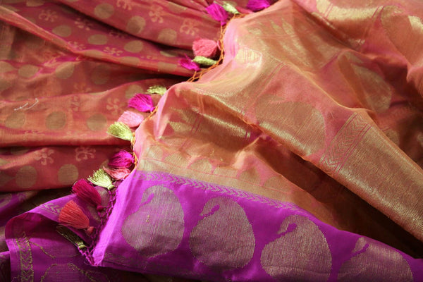 Buy pink Banarasi silk saree online in USA with golden buta. Exquisite collection of traditional Indian Banarasi sarees at Pure Elegance clothing store for women in USA. -details