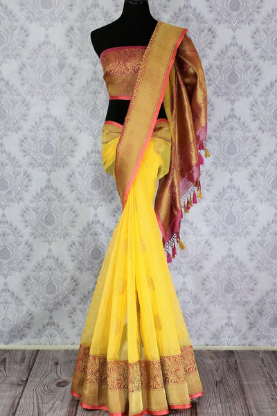 Buy yellow kora Banarasi sari online in USA with buta. Amazing collection of traditional Indian Banarasi sarees at Pure Elegance online store for women in USA. -full view