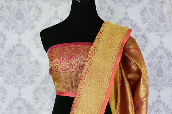 Buy yellow kora Banarasi sari online in USA with buta. Amazing collection of traditional Indian Banarasi sarees at Pure Elegance online store for women in USA. -blouse pallu