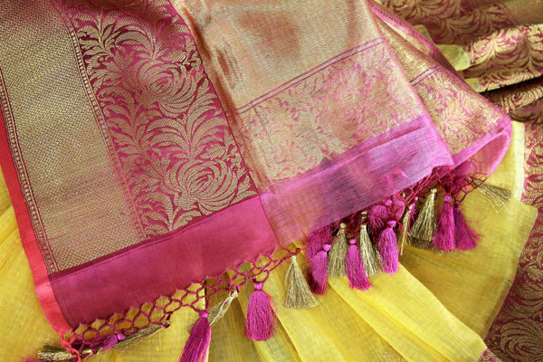Buy yellow kora Banarasi sari online in USA with buta. Amazing collection of traditional Indian Banarasi sarees at Pure Elegance online store for women in USA. -details