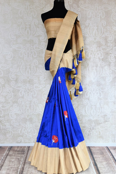 Buy blue resham weave silk saree online in USA with tussar border. Make your ethnic wardrobe rich with exquisite Indian sarees from Pure Elegance online store in USA.-full view