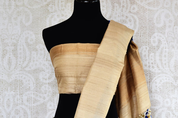 Buy blue resham weave silk saree online in USA with tussar border. Make your ethnic wardrobe rich with exquisite Indian sarees from Pure Elegance online store in USA.-blouse pallu