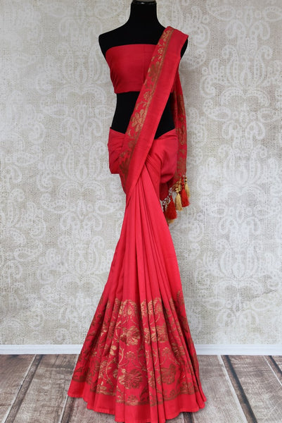Buy pink muga silk Banarasi saree online in USA. Choose from a range of beautiful Indian designer silk sarees at Pure Elegance online store or visit our store in USA.-full view