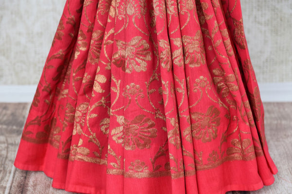 Buy pink muga silk Banarasi saree online in USA. Choose from a range of beautiful Indian designer silk sarees at Pure Elegance online store or visit our store in USA.-pleats