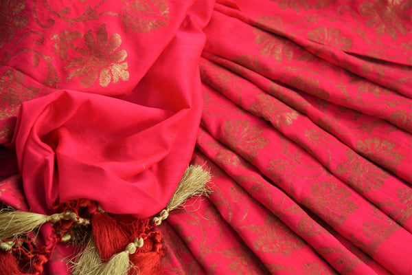 Buy pink muga silk Banarasi saree online in USA. Choose from a range of beautiful Indian designer silk sarees at Pure Elegance online store or visit our store in USA.-details