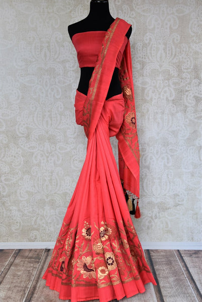 Buy pink muga silk banarasi saree online in USA. Choose from a range of exquisite designer silk sarees at Pure Elegance Indian clothing store in USA. Shop online.-full view