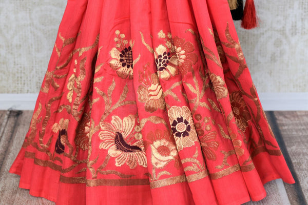 Buy pink muga silk banarasi saree online in USA. Choose from a range of exquisite designer silk sarees at Pure Elegance Indian clothing store in USA. Shop online.-pleats
