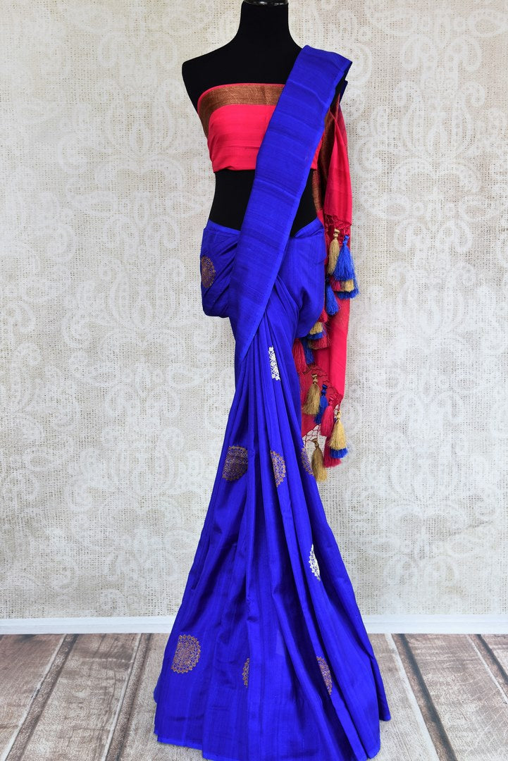 Buy blue muga silk Banarasi sari with buta online in USA. Choose from a range of traditional Indian silk saris at Pure Elegance online store or visit our store in USA.-full view