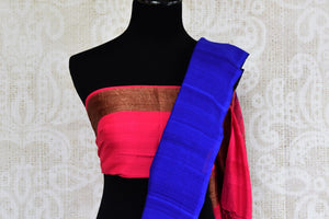 Buy blue muga silk Banarasi sari with buta online in USA. Choose from a range of traditional Indian silk saris at Pure Elegance online store or visit our store in USA.-blouse pallu