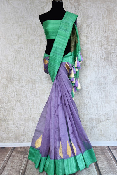 Buy purple kora banarasi saree with buta online in USA. Choose from a range of exquisite designer silk sarees at Pure Elegance Indian clothing store in USA. Shop online.-full view