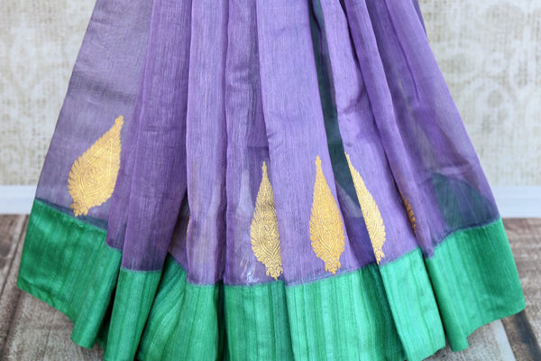 Buy purple kora banarasi saree with buta online in USA. Choose from a range of exquisite designer silk sarees at Pure Elegance Indian clothing store in USA. Shop online.-pleats