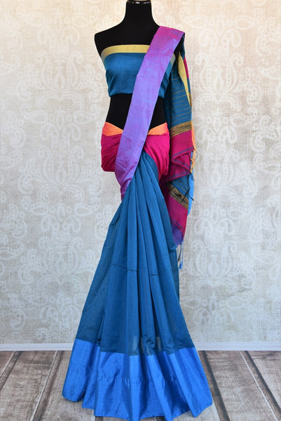 Buy elegant blue cotton matka silk sari online in USA. Pure Elegance Indian clothing store brings an exquisite range of beautiful Indian sarees in USA for women.-full view