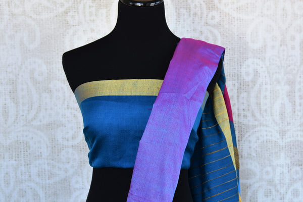 Buy elegant blue cotton matka silk sari online in USA. Pure Elegance Indian clothing store brings an exquisite range of beautiful Indian sarees in USA for women.-blouse pallu
