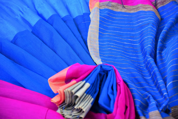 Buy elegant blue cotton matka silk sari online in USA. Pure Elegance Indian clothing store brings an exquisite range of beautiful Indian sarees in USA for women.-details