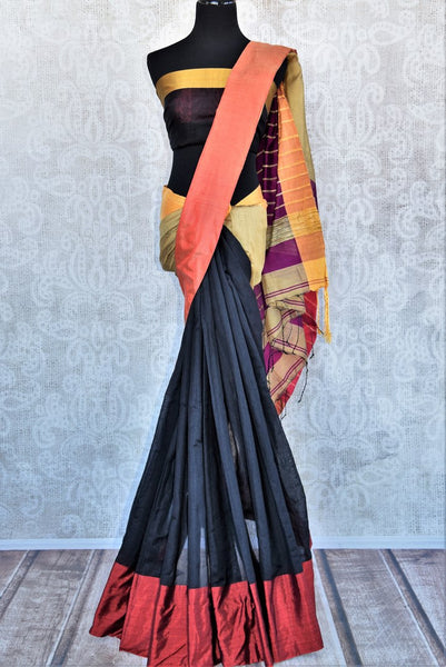 Buy classy black cotton matka silk saree online in USA. Pure Elegance Indian clothing store brings an exquisite range of Indian designer sarees in USA for women.-full view
