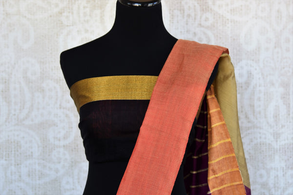 Buy classy black cotton matka silk saree online in USA. Pure Elegance Indian clothing store brings an exquisite range of Indian designer sarees in USA for women.-blouse pallu