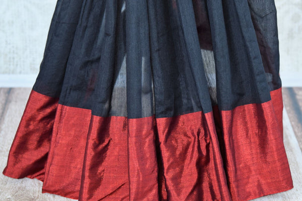 Buy classy black cotton matka silk saree online in USA. Pure Elegance Indian clothing store brings an exquisite range of Indian designer sarees in USA for women.-pleats