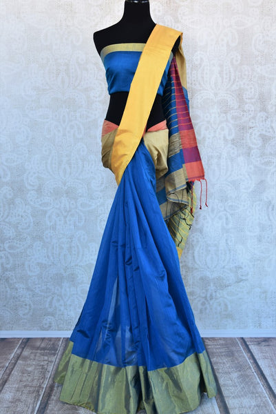 Buy blue cotton matka silk saree online in USA. Pure Elegance Indian fashion store brings an exquisite range of Indian designer saris in USA for women. Shop online.-full view