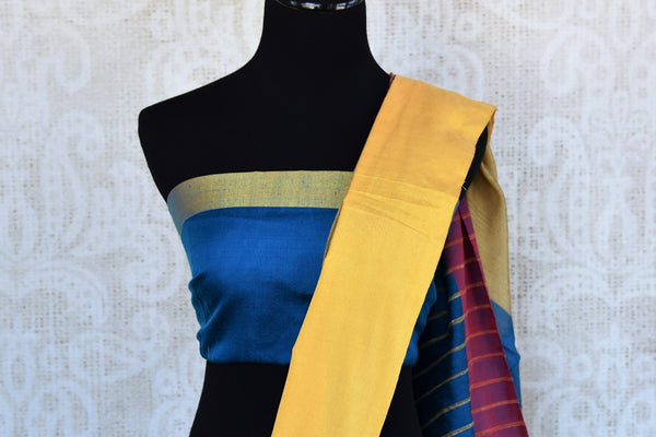 Buy blue cotton matka silk saree online in USA. Pure Elegance Indian fashion store brings an exquisite range of Indian designer saris in USA for women. Shop online.-blouse pallu
