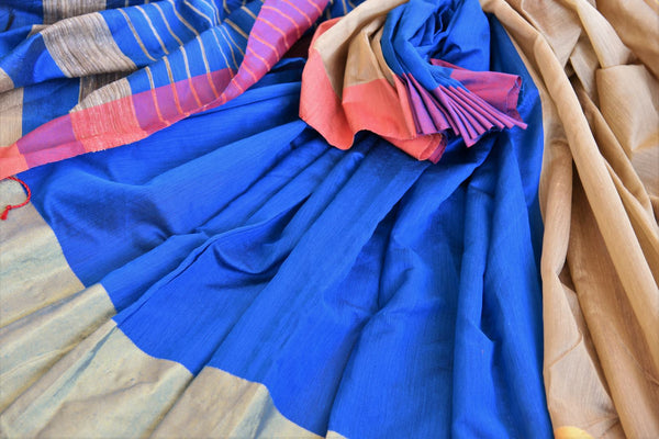 Buy blue cotton matka silk saree online in USA. Pure Elegance Indian fashion store brings an exquisite range of Indian designer saris in USA for women. Shop online.-details